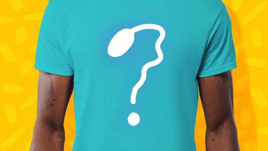 Man wearing a t-shirt with sperm shaped into a question mark for a story about what it's like choosing a sperm donor.