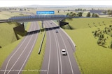 An artists impression of the Singleton Bypass showing new roads and new bridges from the air