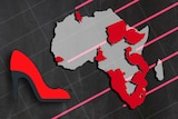 Graphic, red shoe emoji africa and arrows