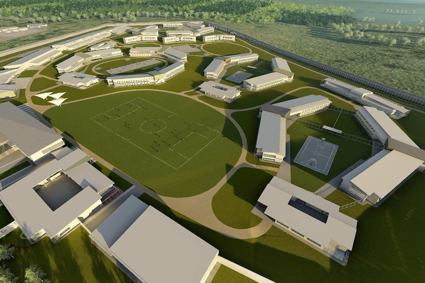 An artist's impression of the new Grafton prison including buildings and surrounds.