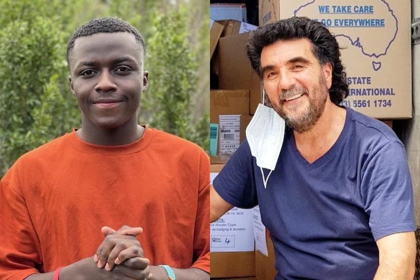 Composite image of a young African Australian on the left and a man with a face mask on the right.