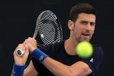 Novak Djokovic plays a shot at Memorial Drive Tennis Centre.