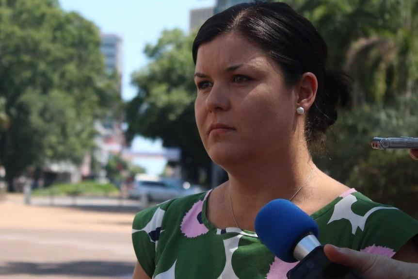 Natasha Fyles addresses the media in Darwin