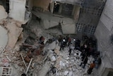 Damaged buildings after what activists said was an air strike in Aleppo.