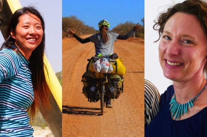 A three-panel split showing a smiling woman at the beach, a cyclist in the outback, and a smiling woman in her house.