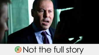 """An image of Josh Frydenberg with a caption saying """"not the full story""""."""