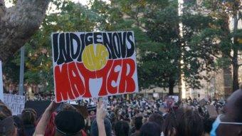 'Indigenous Lives Matter' sign at an Australian Black Lives Matter protest
