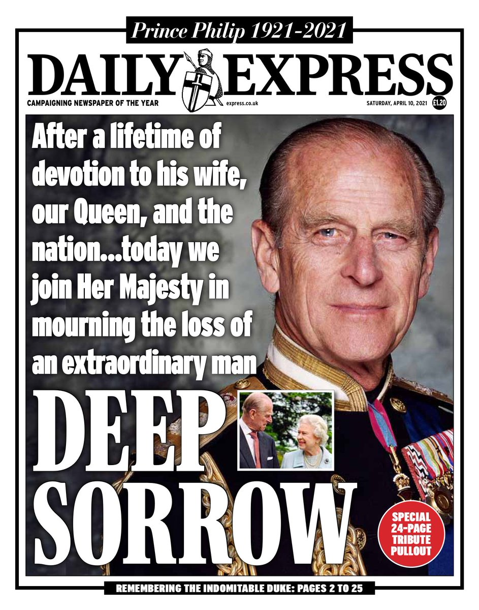 The front page of the Daily Express newspaper the day after the death of Prince Philip.