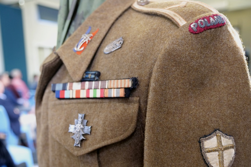 Photograph of a World War 2 army uniform from