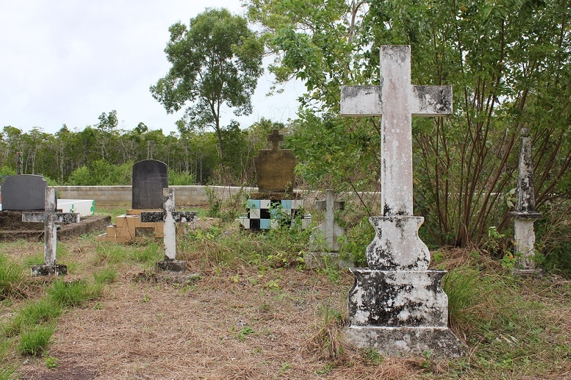 Headstones at the Saibai Island cemetery in the Torres Strait in July 2017