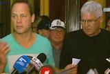 Church sex abuse survivors Peter Blenkiron (green shirt) and Philip Nagle (right, black shirt) address media in Rome