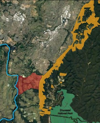 A map of the proposed Georges River National Park.