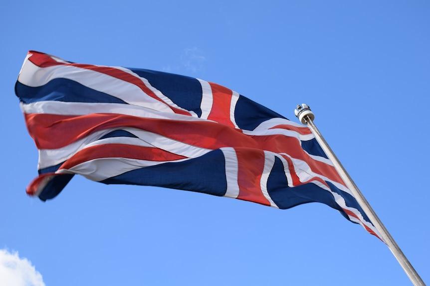 British flag on a flagpole.
