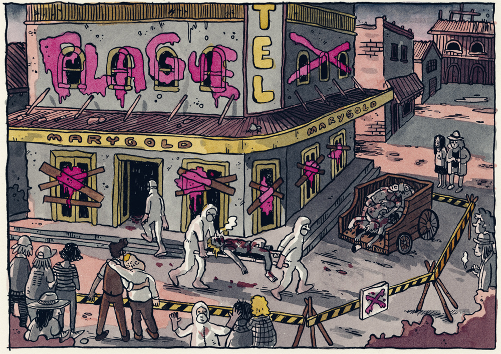 An illustration shows a street scene, PLAGUE is scrawled on a building in graffiti, PPE-clad people carry someone on a stretcher