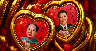 Images of Mao Zedong and Xi Jinping appear in souvenirs.