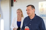 NT Chief Minister Michael Gunner and Police Minister Nicole Manison answer questions at a press conference in Darwin.