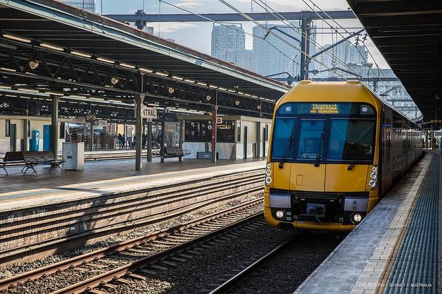 Sydney Train at Central Station, empty platform