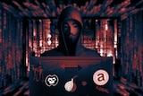 The composite graphics combining various elements and logos from the dark net and its markets.