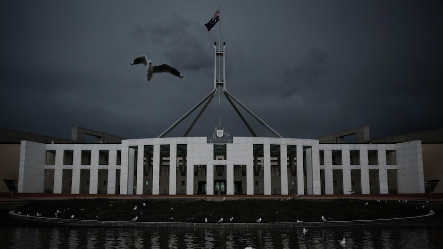 A photo of Parliament House in Canberra on a gloomy day.