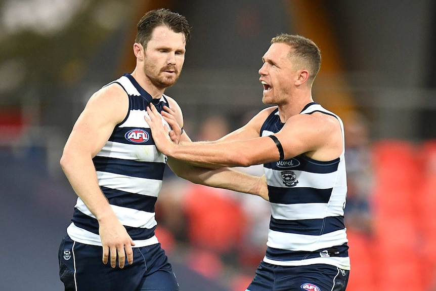 Two Geelong Cats AFL players congratulate each other after a goal was kicked against Sydney Swans.