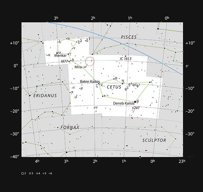 Sky map shows position of Markiarian 1018 in Cetus constellation