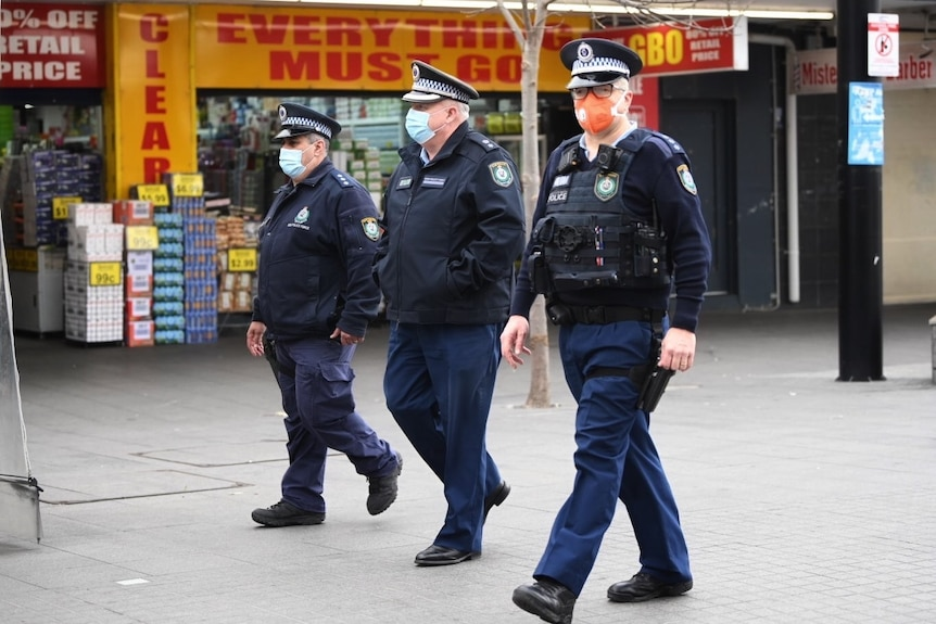 nsw police walk the streets
