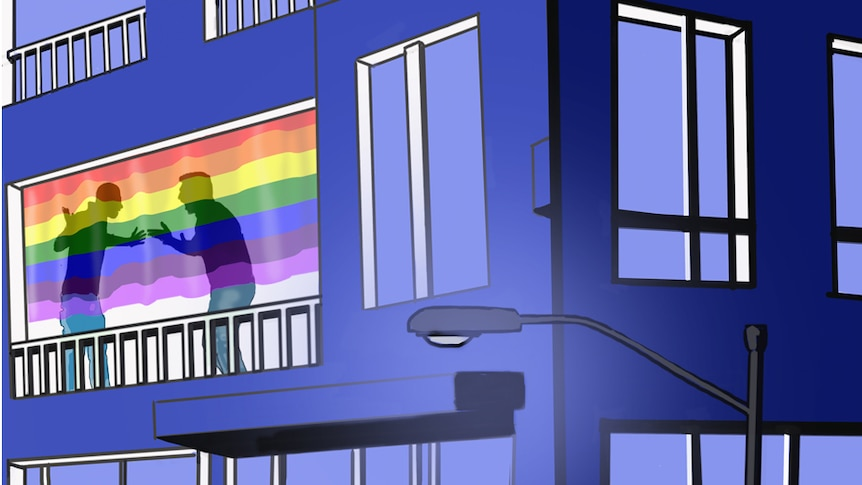 An illustration shows a same-sex couple fighting in the window of an apartment.