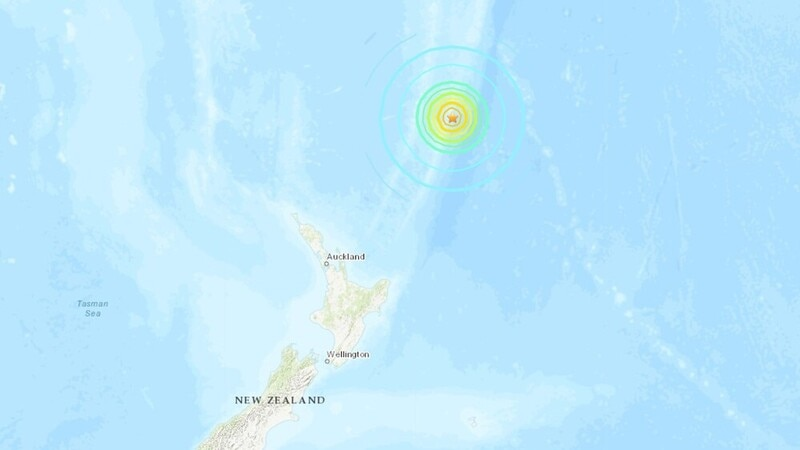 Image shows the location of a large earthquake near the Kermadec Islands
