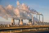 Smoke coming out of stacks at a coal-fired power plant in China.