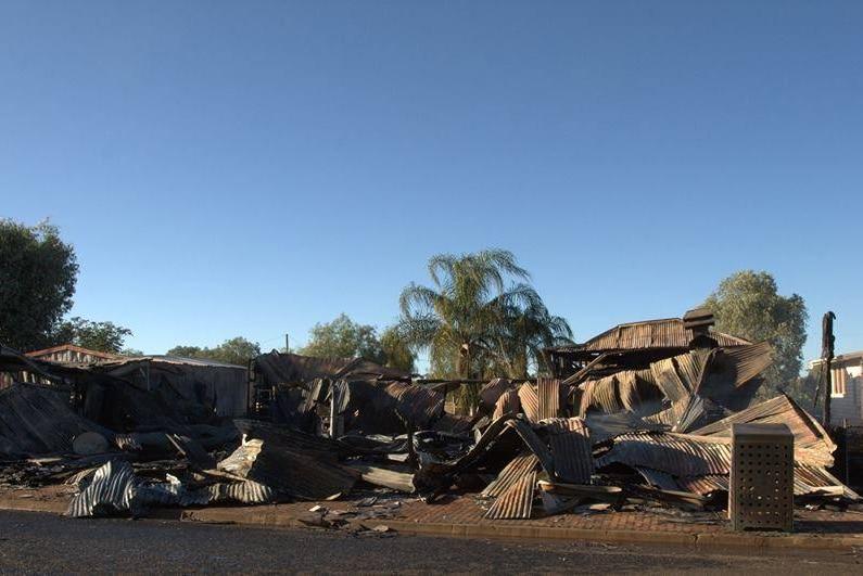 Fire blackened tin on the former Morven hotel site.