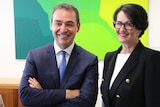 Liberal Premier Steven Marshall and his deputy Vickie Chapman smiling and relaxed.