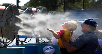 Tennis fans cool off at the Australian Open.