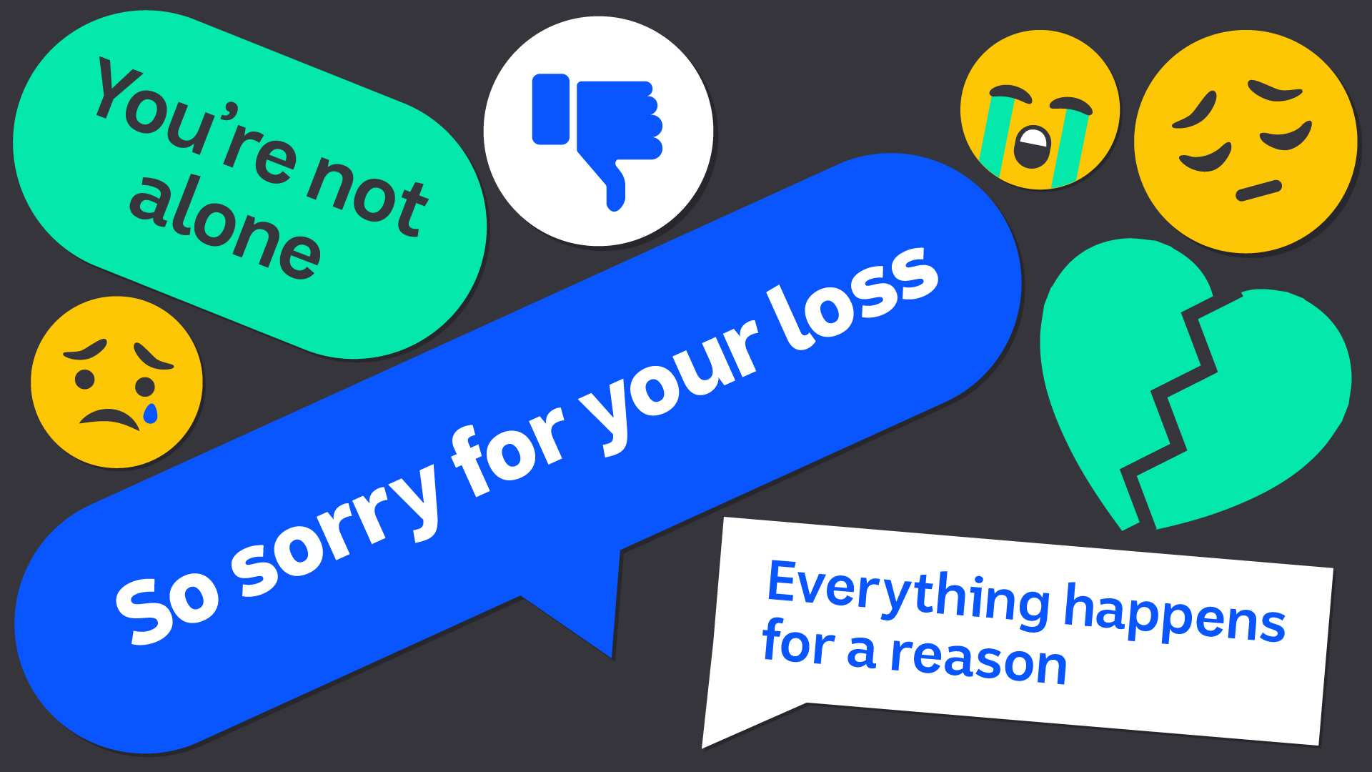 Illustration shows various social media comments and emojis for story on sharing heartbreak online