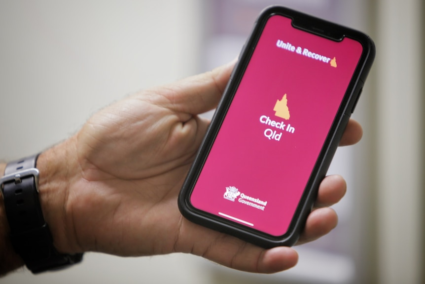 Check In Qld app on a phone in April 2021