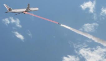 340px wide of plane deflecting missile using defence system