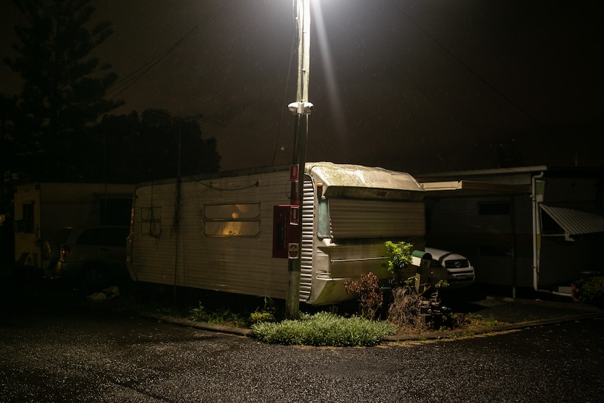 A caravan at night