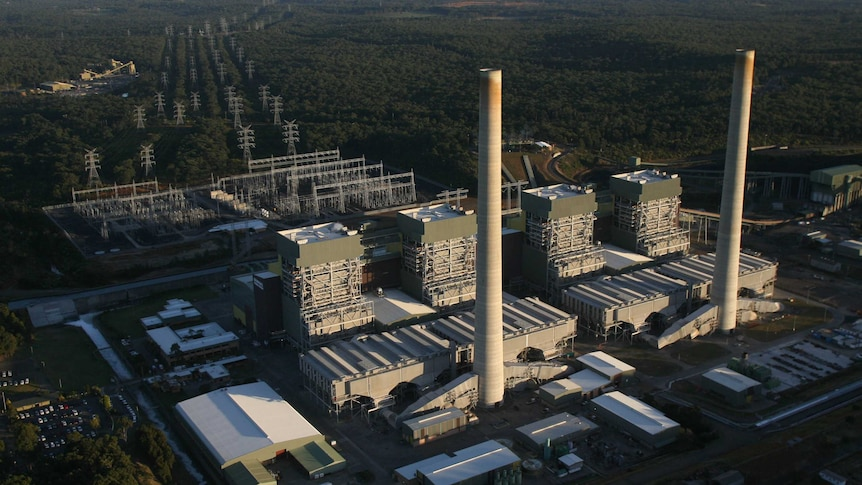 An aerial photo of a coal power plant surrounded by Australian bush.