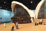 A close-up shot of the front of the Sydney Opera House, made from Lego bricks.