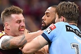 Queensland Maroons Kyle Feldt and Cameron Munster push and shove with NSW Blues Cameron Murray and Josh Addo-Carr.