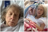 Collage of an elderly woman. Both photos show her laying in a hospital bed. She has long grey hair.