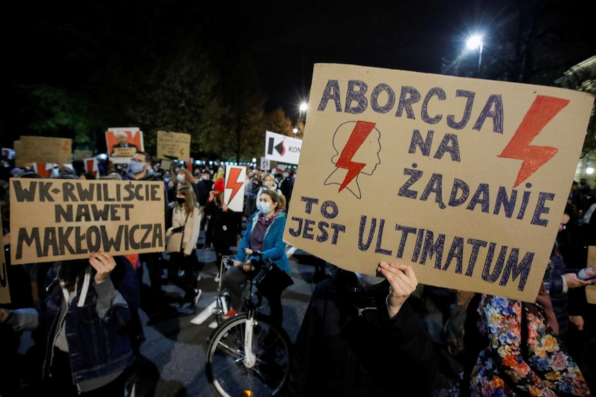 Groups of Polish people protesting
