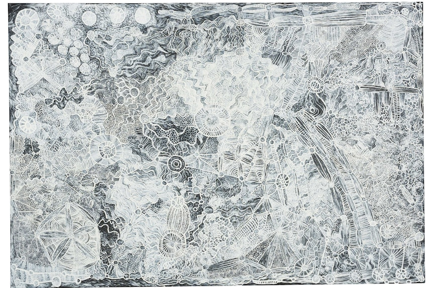 An incredibly detailed painting, black background with white paint tracing out Aboriginal art lines and circles