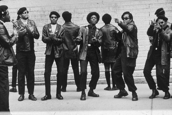 1st May 1969: Members of the Black Panther party demonstrate outside the Criminal Courts Building