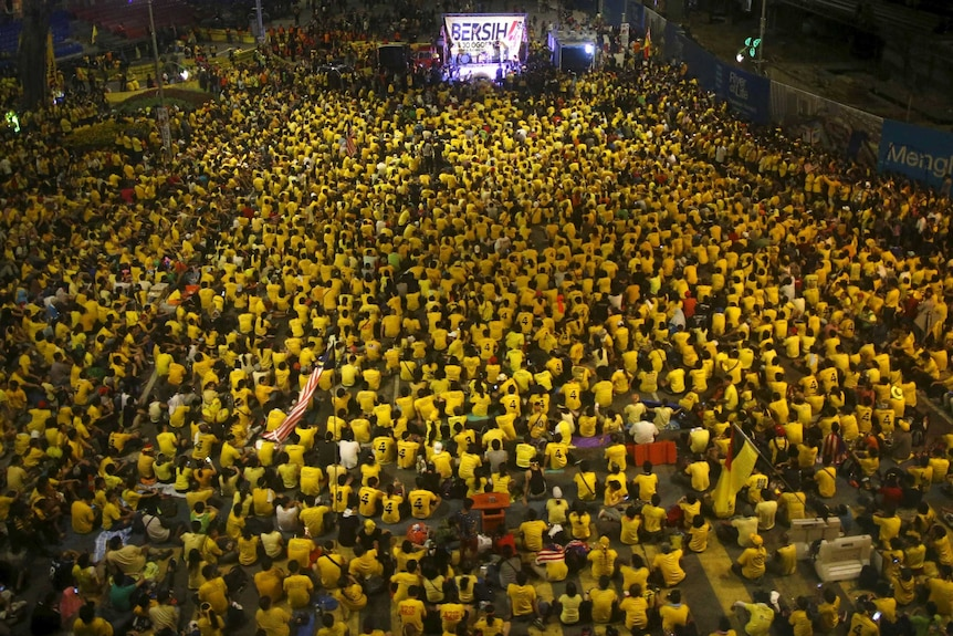 Supporters of the pro-democracy Bersih group demonstrating in Kuala Lumpur
