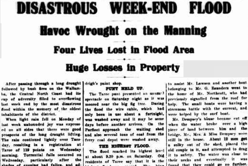 A newspaper article on 1929 floods.