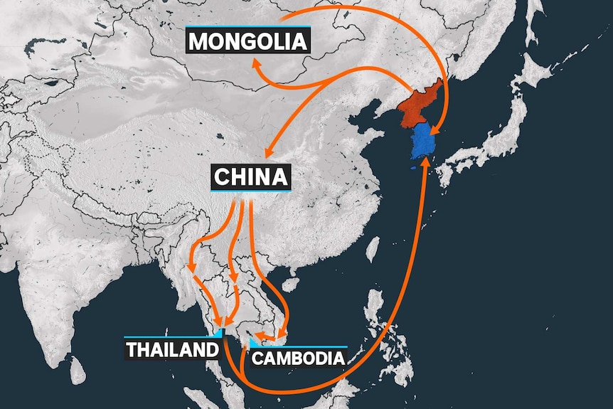 A map showing the potential routes North Korea defectors take to get to South Korea.