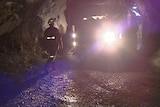 worker underground in Beaconsfield gold mine