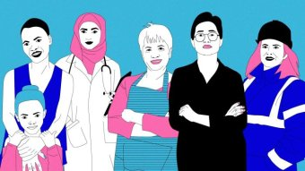 Illustration of a group of women including a mother and child, doctor in a headscarf, hairdresser and construction worker