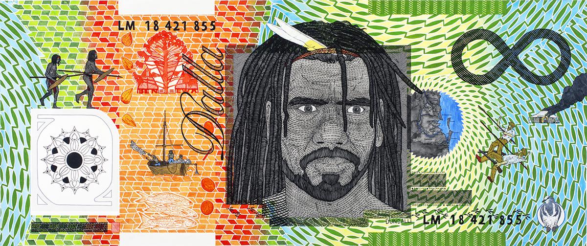 Colour photograph of artwork Blood Money–Infinite Dollar Note–Dundalli Commemorative by artist Ryan Presley.