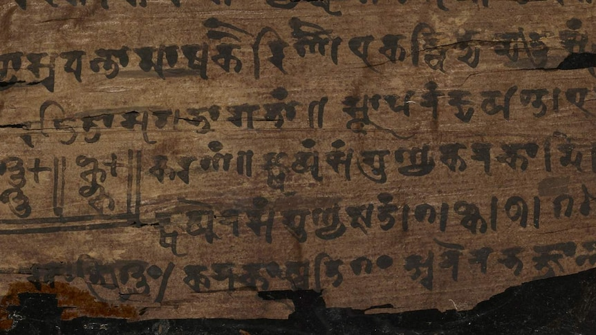 A close up of the the Bakhshali manuscript held by Oxford University.